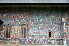 旅行向罗马尼亚:Sucevita教会壁画 免版税库存照片