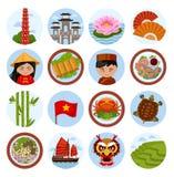 旅行向越南 动画片例证鼠标被设置的向量 库存例证