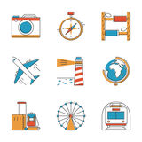 旅行和假期线被设置的象 向量例证