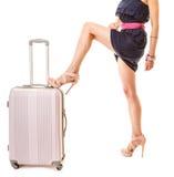 旅行和假期 有手提箱行李袋子的妇女 免版税图库摄影