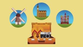 旅行和夏天在欧洲HD动画 皇族释放例证