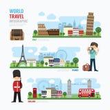 旅行和室外欧洲地标模板设计Infographic 库存例证