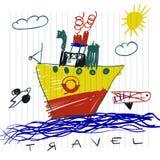 旅行和旅游业概念 孩子逗人喜爱的小船儿童` s图画在笔记本页的 免版税库存照片