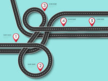 旅行和旅途路线 在五颜六色的背景的弯曲道路与别针尖 皇族释放例证