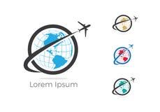 旅行商标设计、假日袋子和飞机象,商务旅行,旅游业,平面例证 库存图片