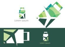 旅行商标设计、假日袋子和飞机象,商务旅行,旅游业,平面例证 免版税库存图片