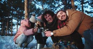 旅行在一个冬天的多种族吸引人小组朋友在森林中间有一些断裂喝 股票视频