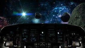 旅行在一个小行星领域里面的未来派太空飞船 库存例证