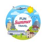 旅行在假期的时候乘飞机和公共汽车 旅行的法国 海滩formentera海岛妇女年轻人 在平的样式的圆的横幅 暑假 v 免版税库存照片