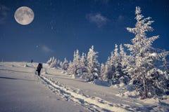 旅行在冬天山在与星和满月的晚上 免版税库存照片