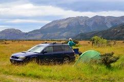 旅行在南阿尔卑斯山在新西兰 免版税库存图片