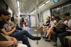 旅行在地铁的乘客在新加坡 免版税图库摄影