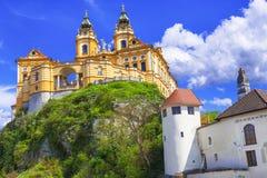 旅行在奥地利,瓦豪谷,多瑙河 Barroque修道院Melk 免版税库存图片