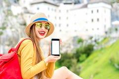 旅行在斯洛文尼亚的妇女 免版税图库摄影