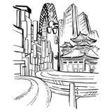 旅行在日本 草图 免版税库存图片