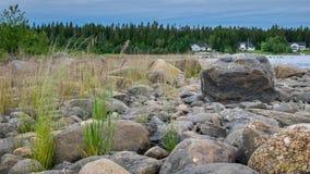 旅行在海滩的北瑞典 免版税库存图片