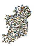 旅行在爱尔兰 拼贴画 地图由人造偏光板制成 免版税库存图片