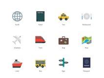 旅行在白色背景的颜色象 免版税库存图片