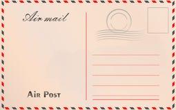 旅行在航空邮件样式的明信片传染媒介与纸纹理和 图库摄影