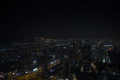 旅行在迪拜在晚上 图库摄影