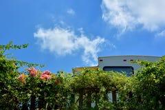 旅行在阵营的拖车逗留在蓝天下 免版税库存图片