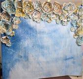 旅行地图手工制造花, clearsky,水彩,背景 免版税库存图片
