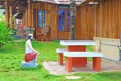旅行家期待午餐 印地安旅馆外部 库存图片