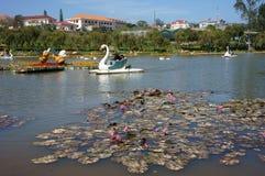 旅行家的休闲乘乘驾在湖的鸭子小船, 库存图片