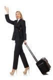 旅行带着手提箱的女实业家妇女 免版税图库摄影