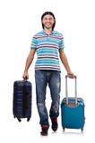 旅行带着手提箱的年轻人被隔绝 库存照片