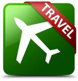 旅行平面象绿色正方形按钮 库存图片