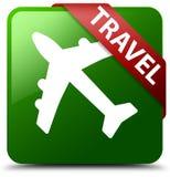 旅行平面象绿色正方形按钮 库存照片
