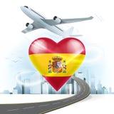 旅行并且运输与西班牙旗子的概念在心脏 库存图片