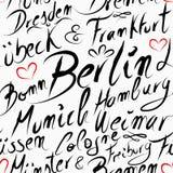 旅行德国目的地城市无缝的样式 免版税库存照片