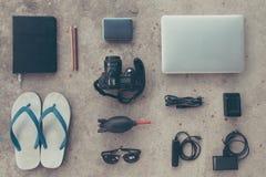 旅行必要的设备 免版税库存照片