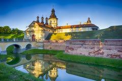 旅行想法和概念 其中一个涅斯维日城堡门  免版税图库摄影
