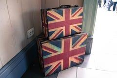旅行手提箱英国旗子样式 免版税库存照片