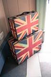 旅行手提箱英国旗子样式 库存照片