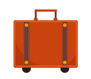 旅行手提箱象平的样式 与把柄的经典之作 在白色背景隔绝的行李 也corel凹道例证向量 免版税库存图片