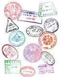 旅行护照邮票(传染媒介) 免版税库存照片