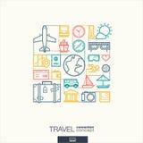 旅行抽象背景,联合稀薄的线标志 免版税库存图片