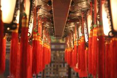 旅行摄影:中国灯笼东亚寺庙 免版税图库摄影