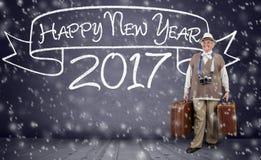 旅行新年的活跃资深妇女 免版税库存图片