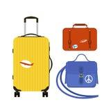 旅行旅游业时尚行李或行李假期把柄皮革大包装公文包和远航目的地装入袋子 免版税库存照片