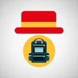 旅行旅游帽子概念背包徒步旅行者 皇族释放例证