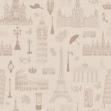 旅行无缝的样式 在欧洲墙纸的假期 免版税图库摄影