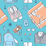 旅行无缝的样式 免版税图库摄影