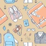 旅行无缝的样式 免版税库存图片