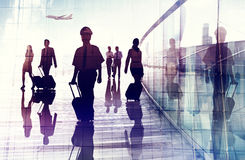 旅行机场企业客舱乘员组商务旅游概念 图库摄影
