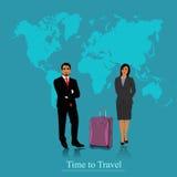 旅行概念、人和woma 向量例证